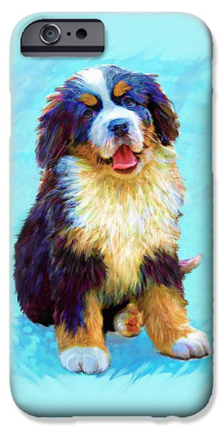 Puppies Digital Art iPhone Cases - Bernese Mountain Dog iPhone Case by Jane Schnetlage