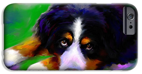 Digital Paintings iPhone Cases - Bernese mountain dog portrait print iPhone Case by Svetlana Novikova