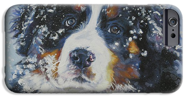Recently Sold -  - Snow iPhone Cases - Bernese Mountain Dog Puppy iPhone Case by Lee Ann Shepard