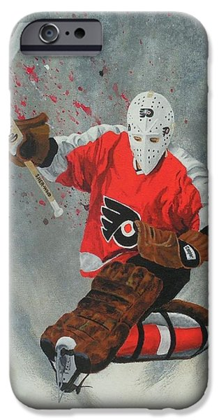 Stanley Cup Paintings iPhone Cases - Bernie Parent iPhone Case by William Boehmer