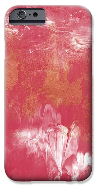 Corporate Art iPhone Cases - Berry and Gold- Abstract Art by Linda Woods iPhone Case by Linda Woods