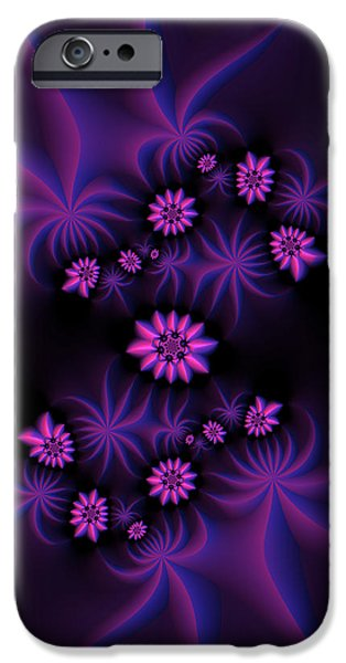 Berry iPhone Cases - Berry Flowers Fractal iPhone Case by Judi Suni Hall
