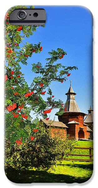 Abnormal iPhone Cases - Berry harvest. Passage Gate from Nikolo-Korelsky Monastery. iPhone Case by Andy Za