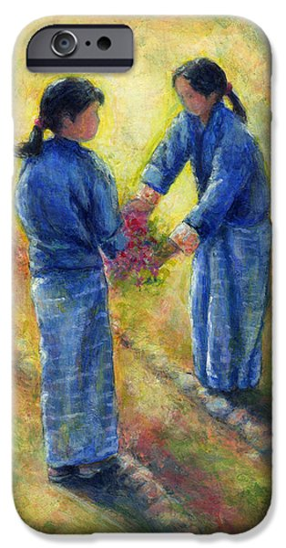 Virtual Paintings iPhone Cases - Best Friends iPhone Case by Retta Stephenson