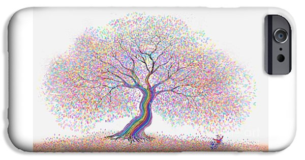 Puppies Digital iPhone Cases - Best Friends Under the Rainbow Tree of Dreams iPhone Case by Nick Gustafson