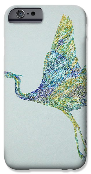 Nature Study Paintings iPhone Cases - Beths Egret iPhone Case by Tamyra Crossley