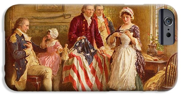 4th July Paintings iPhone Cases - Betsy Ross 1777 iPhone Case by Jean Leon Gerome Ferris