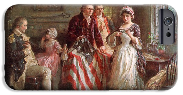 Betsy Ross iPhone Cases - Betsy Ross, 1777 iPhone Case by Photo Researchers