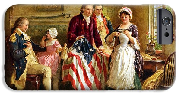Flag Colors iPhone Cases - Betsy Ross and General George Washington iPhone Case by War Is Hell Store