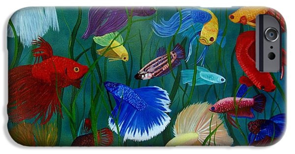 Betta iPhone Cases - Bettas In Motion iPhone Case by Debbie LaFrance