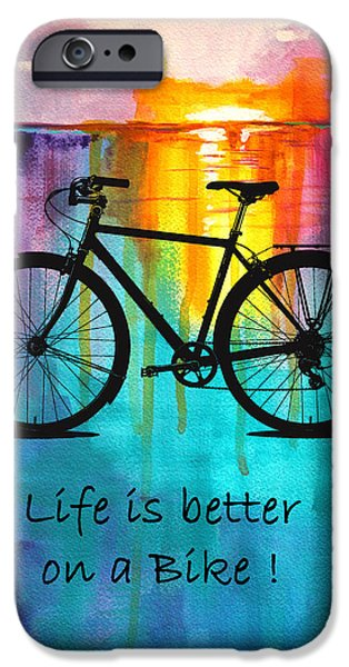 Blue Abstracts iPhone Cases - Better on a Bike iPhone Case by Nancy Merkle