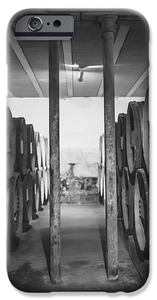 Vintage Wine Lovers Photographs iPhone Cases - Between the Barrels - Vertical iPhone Case by Nomad Art And  Design