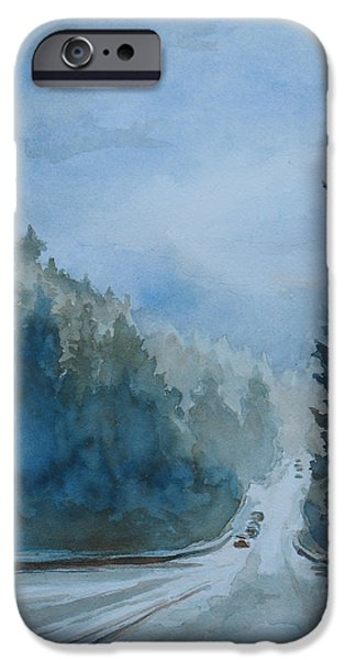 Mist Paintings iPhone Cases - Between the Showers on HWY 101 iPhone Case by Jenny Armitage