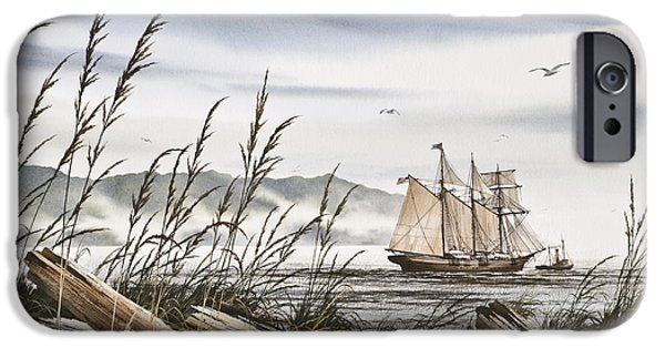 Tall Ship iPhone Cases - Beyond Driftwood Shores iPhone Case by James Williamson