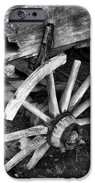Wooden Wagons iPhone Cases - Beyond Repair in BW iPhone Case by Julie Dant