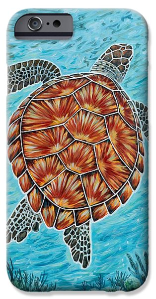 Ocean Turtle Paintings iPhone Cases - Beyond the Reef iPhone Case by Danielle  Perry