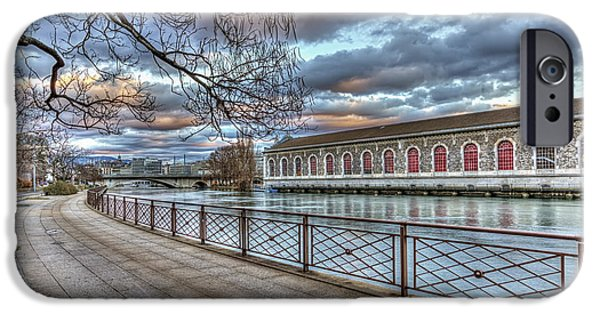 Power iPhone Cases - BFM, promenade and Rhone river, Geneva, Switzerland, HDR iPhone Case by Elena Duvernay