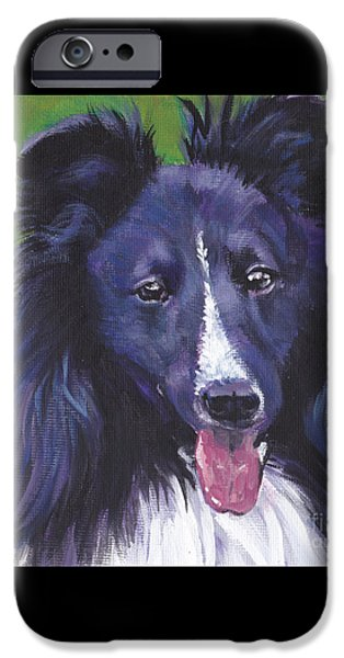 Black Dog iPhone Cases - Bi Black Sheltie iPhone Case by Lee Ann Shepard
