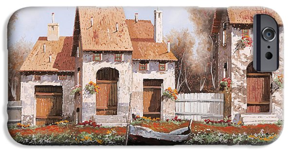 White House Paintings iPhone Cases - Bianca iPhone Case by Guido Borelli