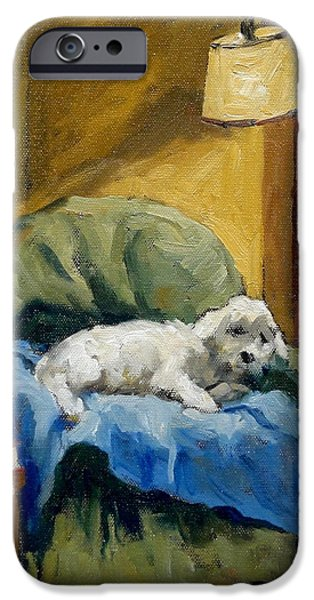 Bichon Frise on Chair iPhone Case by Thor Wickstrom