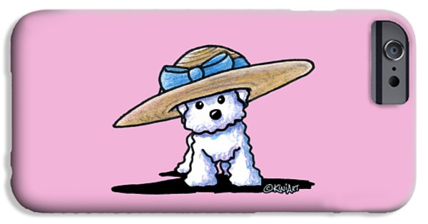 Kim Drawings iPhone Cases - Bichon In Hat iPhone Case by Kim Niles