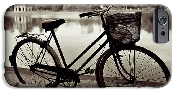 Best Sellers -  - Basket iPhone Cases - Bicycle by the Lake iPhone Case by Dave Bowman