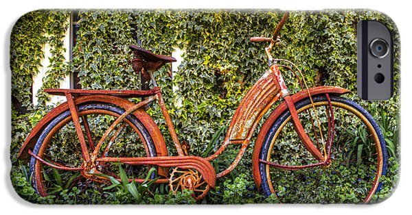 Antiques iPhone Cases - Bicycle in the Garden iPhone Case by Debra and Dave Vanderlaan