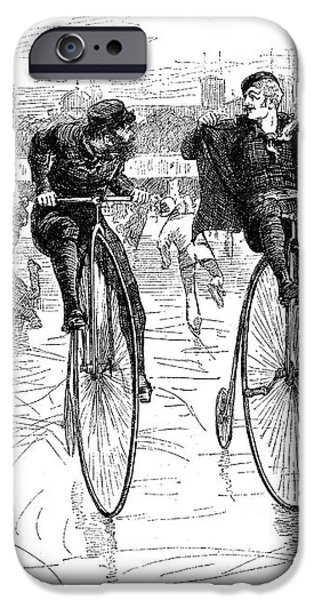 BICYCLES ON ICE, 1881 iPhone Case by Granger