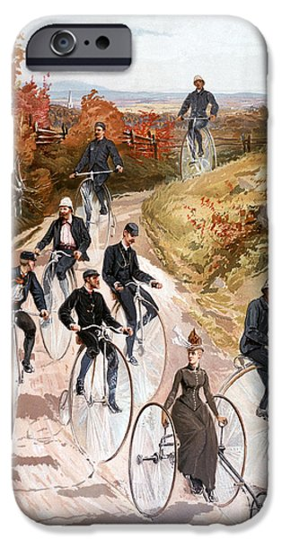 Country Dirt Roads iPhone Cases - Bicycling, 1887 iPhone Case by Granger