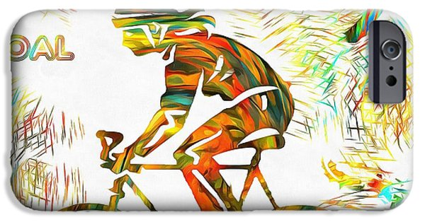 Nike iPhone Cases - Bicyclist Goal Painting iPhone Case by Dan Sproul