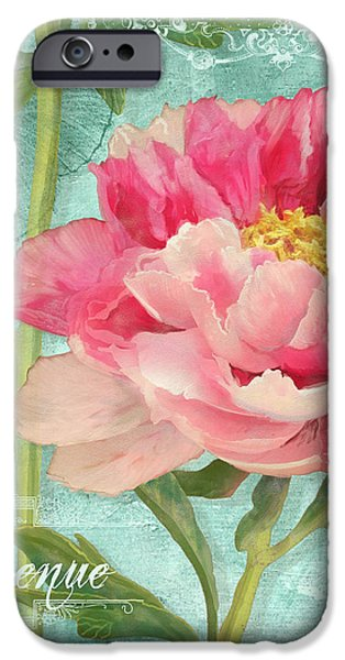 Blossom Mixed Media iPhone Cases - Bienvenue - Peony Garden iPhone Case by Audrey Jeanne Roberts