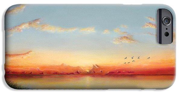 Ocean Sunset Drawings iPhone Cases - Big Assawoman Bay iPhone Case by Albert Puskaric