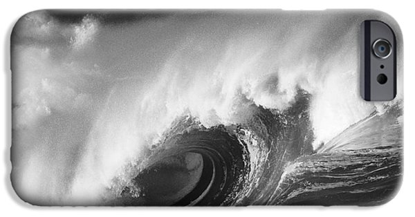 Turbulent Skies iPhone Cases - Big Breaking Wave - BW iPhone Case by Vince Cavataio - Printscapes