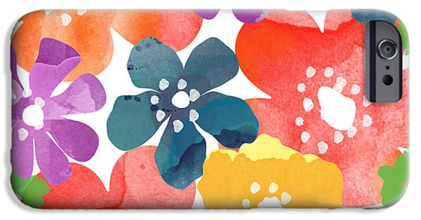 Flower Design iPhone Cases - Big Bright Flowers iPhone Case by Linda Woods