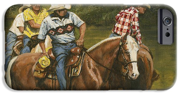 Horse iPhone Cases - Big Creek - 4 Riders iPhone Case by Don  Langeneckert