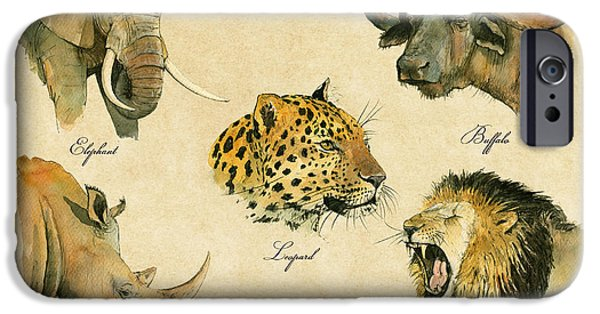 Safari Prints iPhone Cases - Big five poster iPhone Case by Juan  Bosco