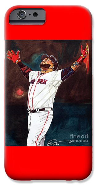 Boston Red Sox iPhone Cases - Big Papi David Ortiz iPhone Case by Dave Olsen
