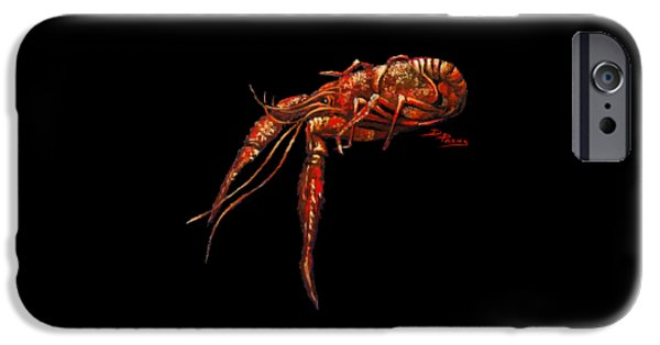 Crawfish iPhone Cases - Big Red iPhone Case by Dianne Parks