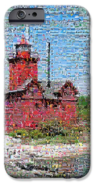 Michelle iPhone Cases - Big Red Photomosaic iPhone Case by Michelle Calkins