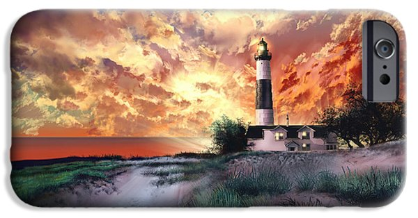 Chicago iPhone Cases - Big Sable Lighthouse iPhone Case by MB Art factory