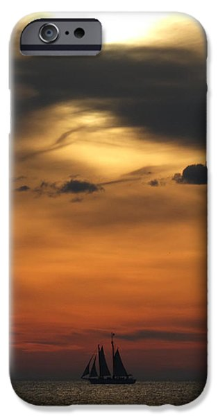 Sailboats iPhone Cases - Big Sky Sunset iPhone Case by David T Wilkinson