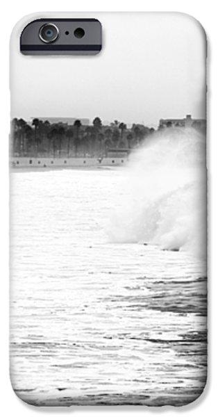Big Surf at Santa Monica iPhone Case by John Rizzuto
