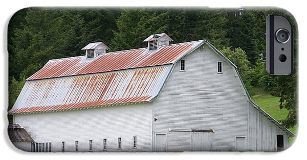 Barns Pyrography iPhone Cases - Big White Old Barn With Rusty Roof  Washington State iPhone Case by Laurie Kidd