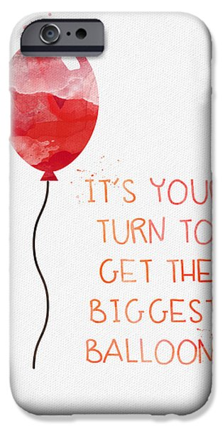 Celebration Mixed Media iPhone Cases - Biggest Balloon- card iPhone Case by Linda Woods