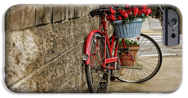 Arkansas iPhone Cases - Bike and Red Roses iPhone Case by Tony  Colvin