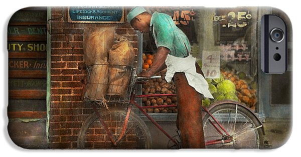 Basket iPhone Cases - Bike - Delivering groceries 1938 iPhone Case by Mike Savad