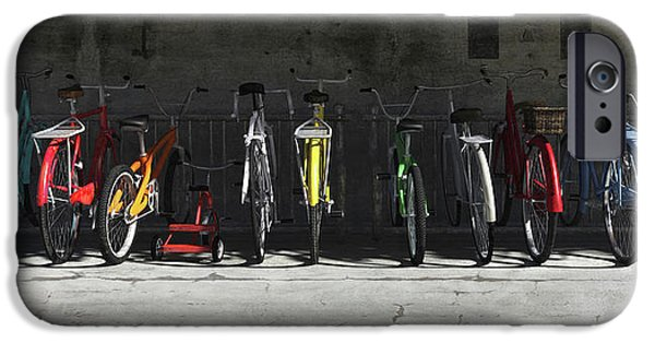 Lights Digital iPhone Cases - Bike Rack iPhone Case by Cynthia Decker