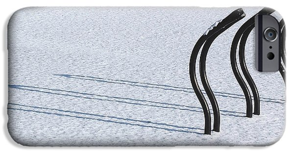 Bicycle iPhone Cases - Bike Racks in Snow iPhone Case by Steve Somerville