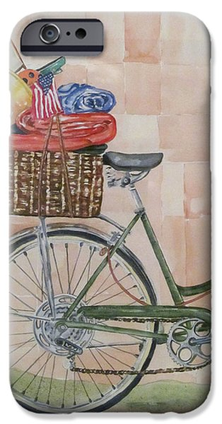4th July Paintings iPhone Cases - Bike to the Beach iPhone Case by Kate Presentati
