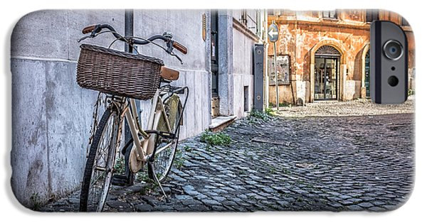 Alley iPhone Cases - Bike with basket on streets of Rome iPhone Case by Edward Fielding